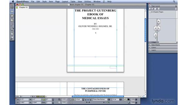 """Using automatic page numbering and """"continued"""": QuarkXPress 8 Essential Training"""