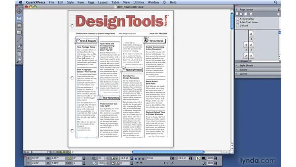 Navigating through a layout: QuarkXPress 8 Essential Training