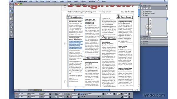 Selecting text: QuarkXPress 8 Essential Training