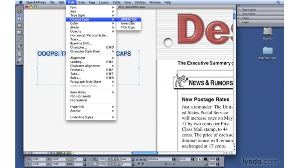 Changing text case: QuarkXPress 8 Essential Training