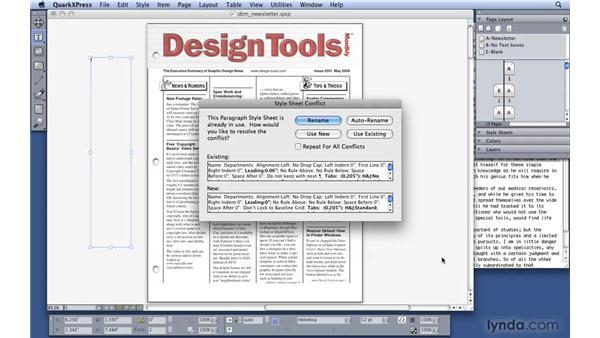 Importing text: QuarkXPress 8 Essential Training