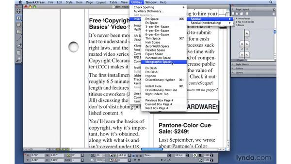 Showing invisible characters: QuarkXPress 8 Essential Training