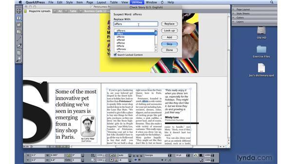 Using Spell Check: QuarkXPress 8 Essential Training
