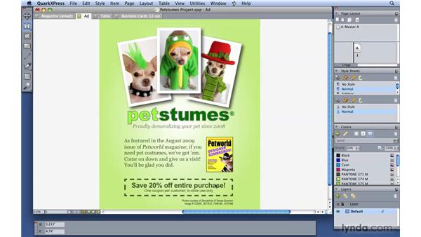 Setting color, shade, and transparency: QuarkXPress 8 Essential Training