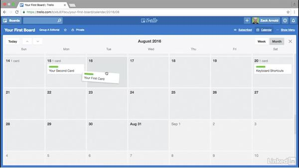 Activating the Trello calendar: Trello for Video Post Production