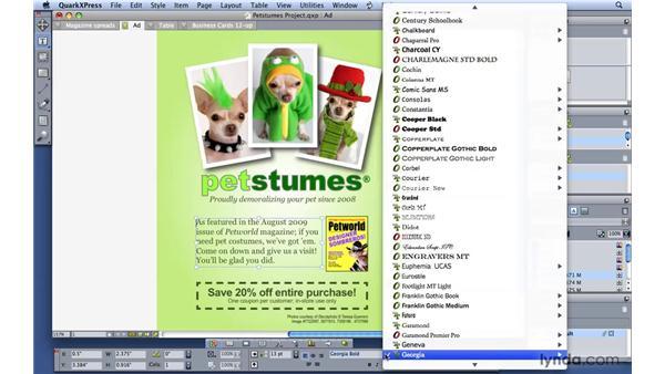Adjusting font preferences and open-type fonts: QuarkXPress 8 Essential Training