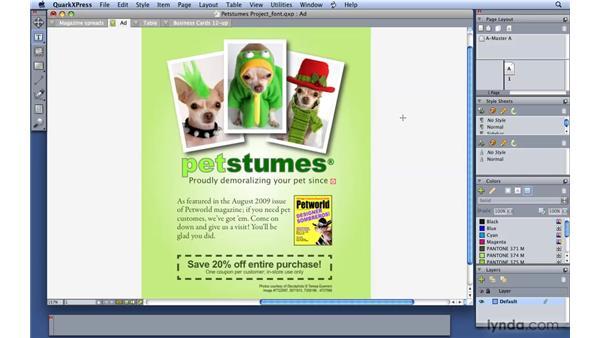Finding a missing font: QuarkXPress 8 Essential Training