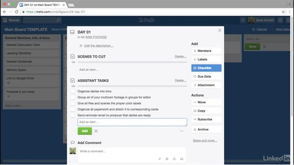 Organizing your raw footage: Trello for Video Post Production