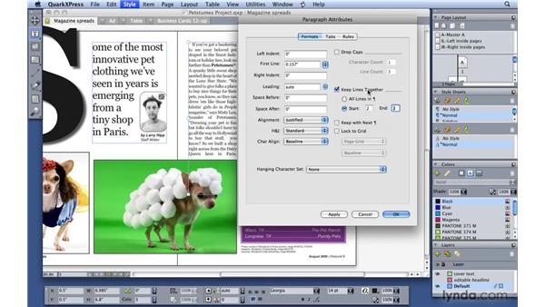 Understanding widow and orphan control: QuarkXPress 8 Essential Training