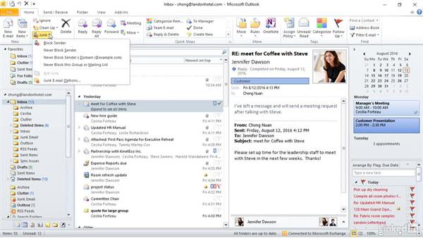 Manage junk mail: Outlook 2010: Prepare for the Microsoft Office Specialist Certification Exam (77-884)