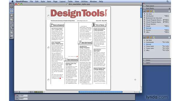 Learning about style sheets: QuarkXPress 8 Essential Training