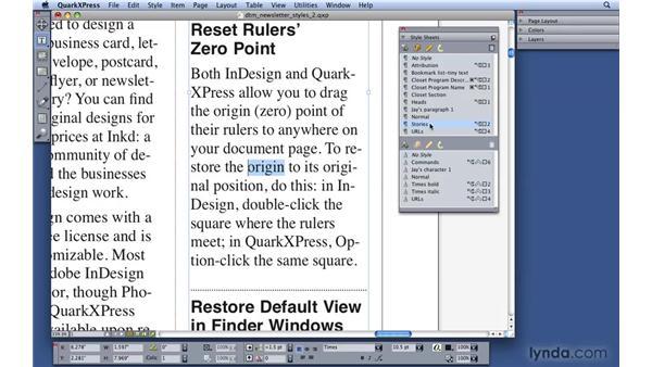 Applying styles: QuarkXPress 8 Essential Training