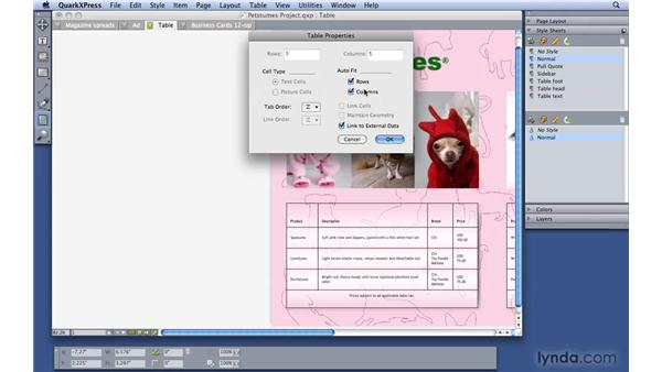 Importing Excel tables: QuarkXPress 8 Essential Training