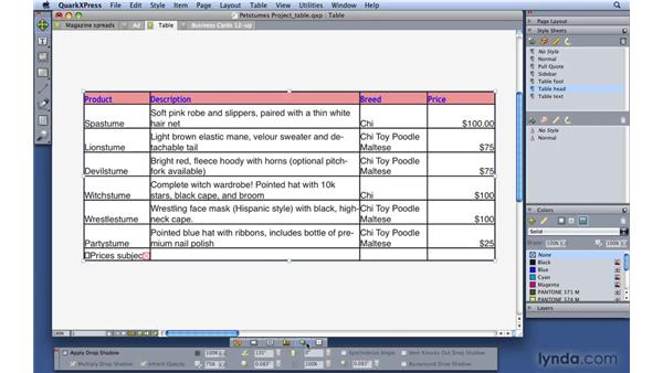 Formatting tables: QuarkXPress 8 Essential Training