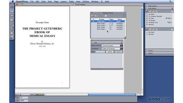 Creating lists: QuarkXPress 8 Essential Training