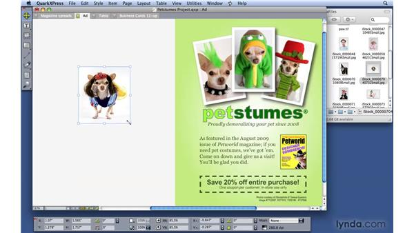 Working with pictures: QuarkXPress 8 Essential Training
