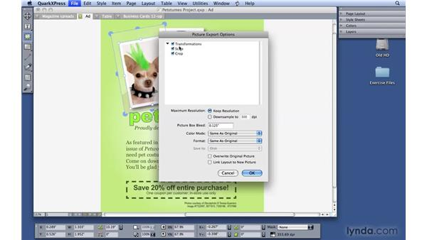 Editing and exporting pictures: QuarkXPress 8 Essential Training