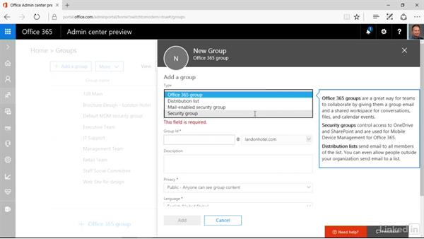 Create a group in admin center preview: Office 365: Groups for Administrators