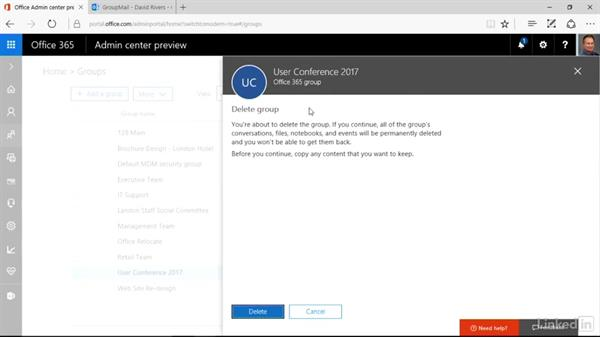 Delete a group: Office 365: Groups for Administrators