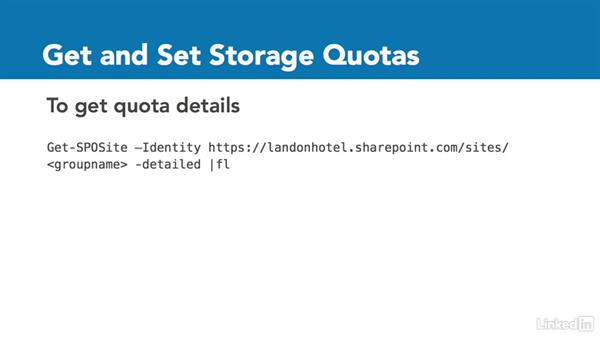 Set storage space quotas for groups: Office 365: Groups for Administrators