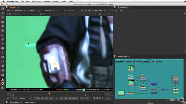 Removing tracking markers with screen correction