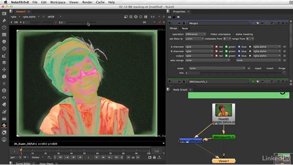 Stack IBKColor nodes for cleaner clean plates: VFX Keying: Master Course