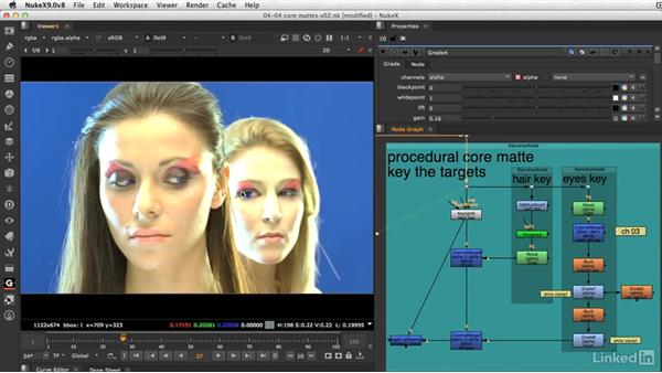 Creating core mattes for solid keys: VFX Keying: Master Course