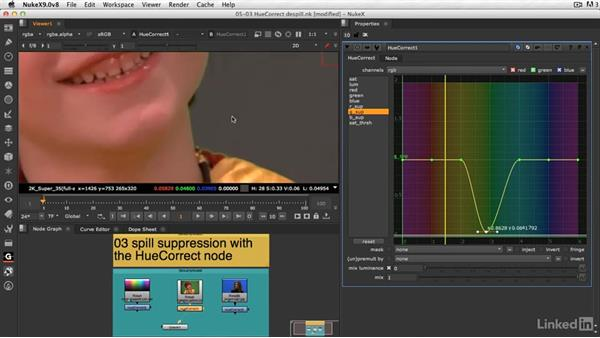 Spill suppression with the Hue Correct node: VFX Keying: Master Course