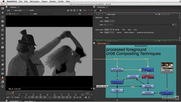 Screen correction with a processed background: VFX Keying: Master Course