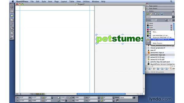 Using color from outside sources: QuarkXPress 8 Essential Training