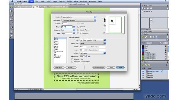 Adjusting basic printer settings: QuarkXPress 8 Essential Training