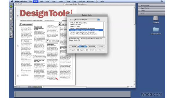 Creating PDF output styles: QuarkXPress 8 Essential Training