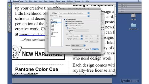 Adding bookmarks for interactive PDFs: QuarkXPress 8 Essential Training