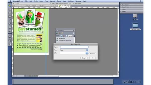 Inserting hyperlinks in a document: QuarkXPress 8 Essential Training