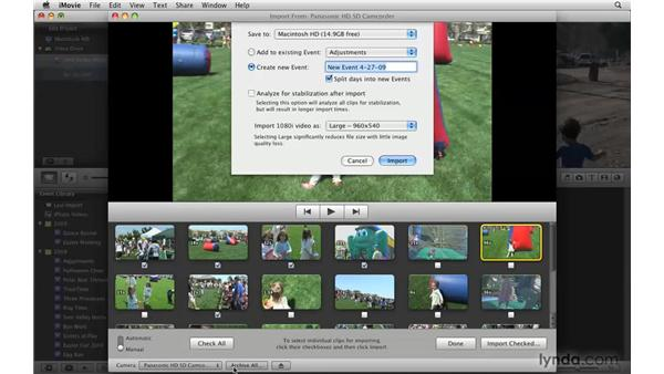Importing from memory-based cameras: iMovie '09 Essential Training