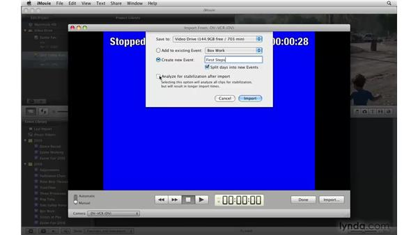 Importing from tape-based cameras: iMovie '09 Essential Training