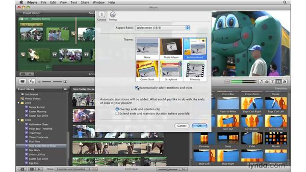 Adjusting transition duration and style: iMovie '09 Essential Training