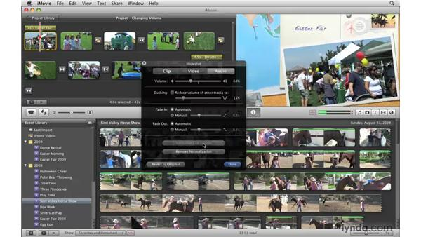 Changing the volume of a clip: iMovie '09 Essential Training
