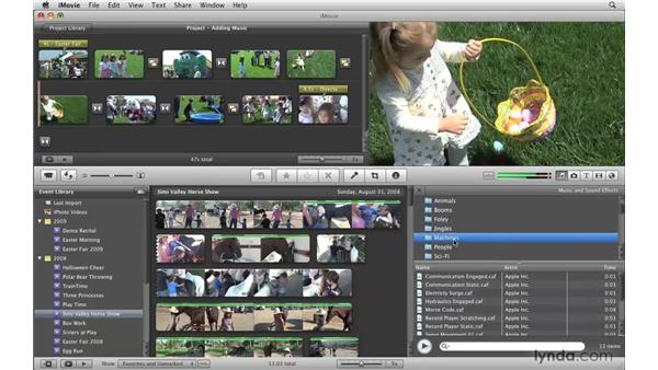 Searching for music and effects: iMovie '09 Essential Training