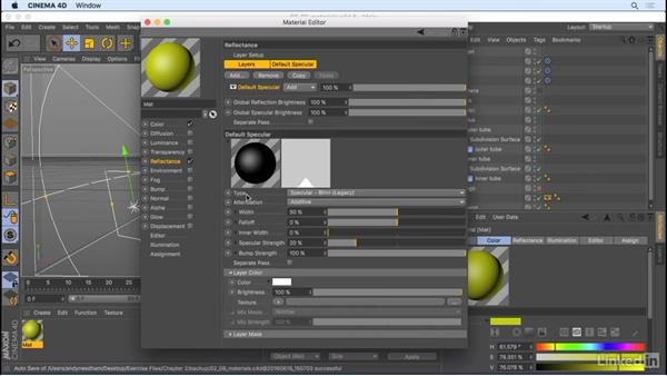 Create and apply materials: CINEMA 4D R18 Essential Training: The Basics