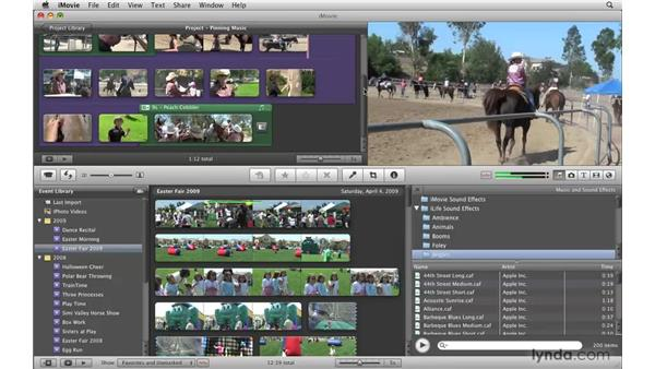 Pinning background music to a video frame: iMovie '09 Essential Training