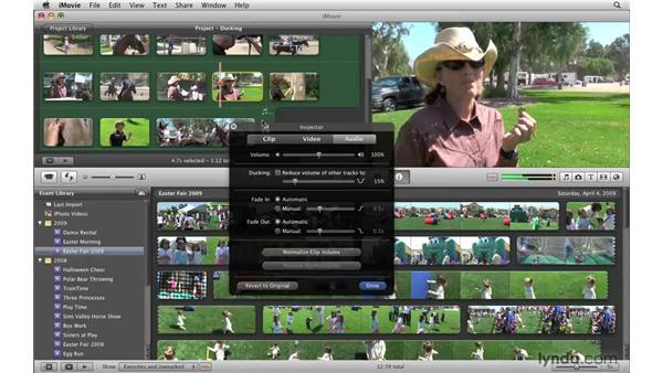 Ducking the music under speech: iMovie '09 Essential Training