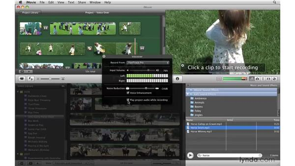 Using the voiceover tool: iMovie '09 Essential Training