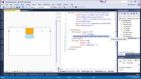 Use children elements as content: Microsoft XAML Fundamentals 2:  Content and Properties