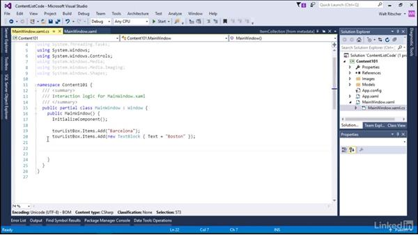Content as a list in code: Microsoft XAML Fundamentals 2:  Content and Properties