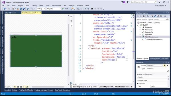 Use some dependency properties: Microsoft XAML Fundamentals 2:  Content and Properties