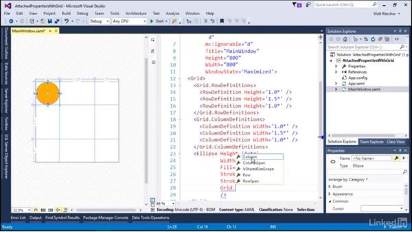 Attached properties with the grid: Microsoft XAML Fundamentals 2:  Content and Properties