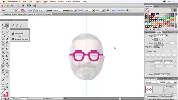 Creating a graphics avatar illustration: Drawing Vector Graphics Laboratory