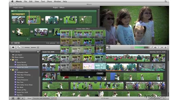 Changing the look of your video with effects: iMovie '09 Essential Training