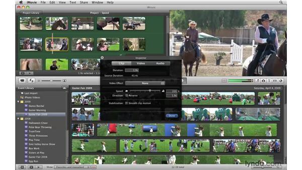 Altering the speed of a clip : iMovie '09 Essential Training